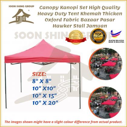 Canopy Black Steel  Kanopi Set High Quality Heavy Duty Tent Khemah Thicken Oxford Fabric Bazaar Pasar Hawker Stall Jamuan