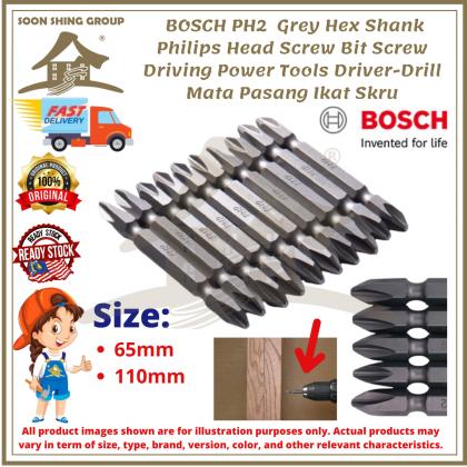 100% Original BOSCH PH2 Grey Hex Shank Philips Head Screw Bit Driving Power Tools Driver-Drill Mata Pasang Ikat Skru