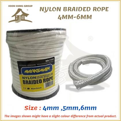 NYLON WHITE BRAIDED ROPE/CLIMBING ROPE/OUTDOOR TENT ROPE - 4MM-6MM